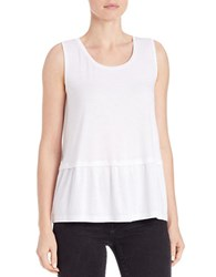 Lord And Taylor Pleated Roundneck Shell White
