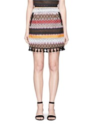 Nicholas Tassel Hem Zigzag Stripe Felted Mini Skirt Multi Colour
