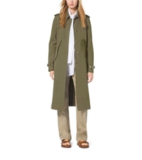 Michael Kors Wool Gabardine Trench Cape Juniper