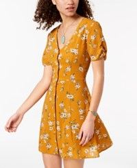 Trixxi Juniors' Printed Button Up Dress Mustard Floral