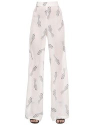 Ma'an Fishes Printed Flared Silk Pants