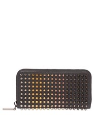 Christian Louboutin Zip Around Spike Stud Leather Wallet Black