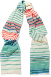 Marc By Marc Jacobs Paradise Striped Woven Scarf Blue