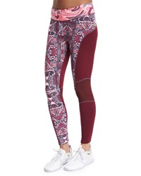 Maaji Aggie Printed Sport Leggings Maroon Red