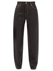 Eytys Benz Leather Straight Leg Trousers Black