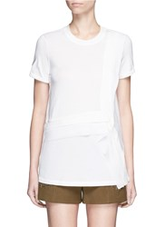 3.1 Phillip Lim Cascading Silk Ribbon Trim Cotton T Shirt White