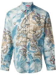 Jc De Castelbajac Vintage Cartoon Map Print Shirt Blue