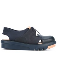 Camper 'Marta' Lace Up Shoes Women Goat Skin Leather Nylon Rubber 37 Blue