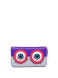 Fendi Crayons Studded Saffiano Leather Zip Continental Wallet Powder