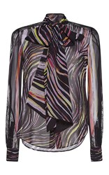 Zuhair Murad Georgette And Lace Shirt With Bow In Swirling Stripes Print