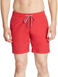 Saks Fifth Avenue Solid Nylon Swim Trunks Pepper Sea Water