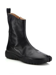 Maison Martin Margiela Flat Leather Ankle Boots Black