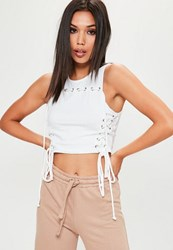 Missguided White Lace Up Eyelet Detail Washed Vest