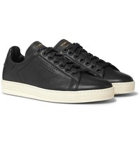 Tom Ford Warwick Perforated Full Grain Leather Sneakers Black