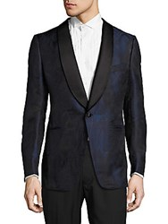 Tom Ford Tailored Fit Silk Blend Tuxedo Jacket Blue Print