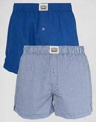Levi's Levis Check Woven Boxers In 2 Pack Blue Blue