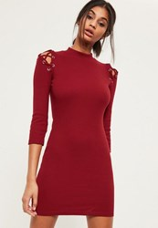 Missguided Burgundy 3 4 Sleeve Strap Shoulder Bodycon Dress