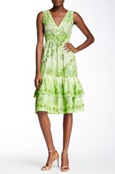 Chaudry Sleeveless Printed Dress Green