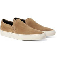 Common Projects Retro Leather Trimmed Suede Slip On Sneakers Sand