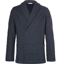 Eidos Shawl Collar Double Breasted Loopback Cotton Jersey Blazer Navy