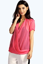 Boohoo Wrap Front Sheer Woven Blouse Pink