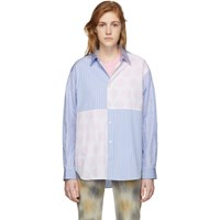 Comme Des Garcons Shirt Blue And Pink Polka Dot And Stripe Mix Shirt