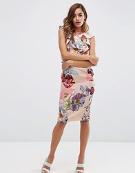 Asos Pencil Dress With Ruffle Detail In Blurry Floral Print Floral Print