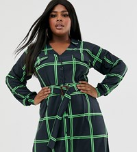Pink Clove Belted Shirt Dress In Check Print Multi