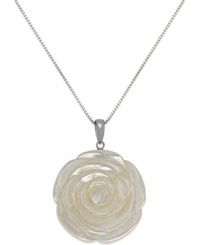 Macy's Genuine Mother Of Pearl Carved Flower Pendant Necklace In Sterling Silver 38Mm