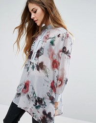 Religion Sheer Collarless Shirt In Floral Print Gray