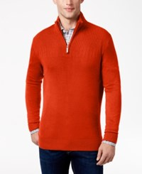 Geoffrey Beene Men's Quarter Zip Drop Needle Sweater Rust