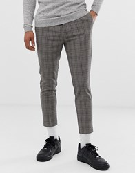 New Look Cropped Check Trousers In Brown