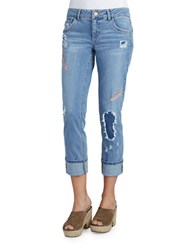Democracy Distressed Embroidered Jeans Blue