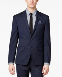 Bar Iii Men's Extra Slim Fit Stretch Wrinkle Resistant Blue Black Check Suit Jacket Only At Macy's Blue Black