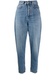Marcelo Burlon County Of Milan High Waisted Tapered Jeans Blue