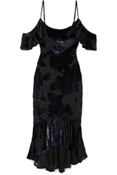 Marchesa Notte Cold Shoulder Embroidered Chiffon Dress Black