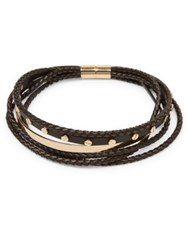 Givenchy Multi Row Braided Leather Choker Black Gold
