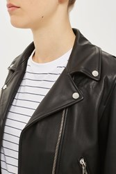 Topshop Belted Leather Biker Jacket By Boutique Black