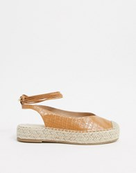 Stradivarius Moc Croc Lace Up Espadrille Brown