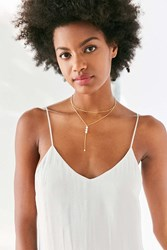 Urban Outfitters Dripping Crystals Lariat Necklace Gold