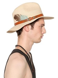 Htc Hollywood Trading Company Straw Hat With Leather Band And Feather