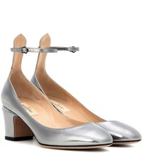 Valentino Tan Go Leather Pumps Silver