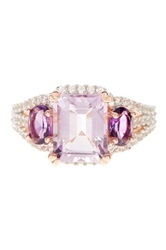 Rose De France Amethyst And Created White Sapphire Ring Purple