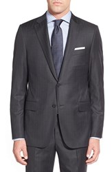 Men's Hickey Freeman Classic Fit Stripe Wool Suit Charcoal