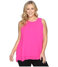 Vince Camuto Plus Size Sleeveless Blouse With Knit Underlay Pop Pink Women's Blouse