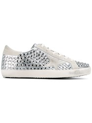 Golden Goose Deluxe Brand Super Star Studded Leather Sneakers White