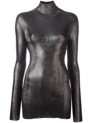 Nina Ricci Turtle Neck Metallic Grey Top