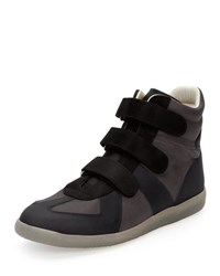 Maison Martin Margiela Three Strap Leather High Top Sneaker Black Navy Gray Black Navy Grey
