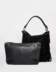 Oasis 2 In 1 Fringed Hobo Bag Black
