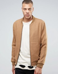 Selected Homme Wool Bomber Jacket Camel Beige